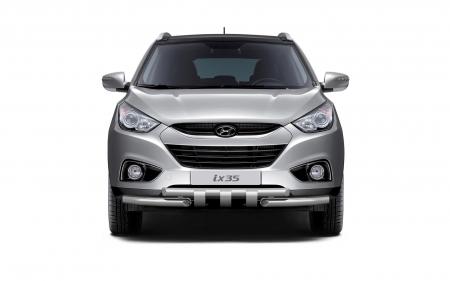 Защита переднего бампера двойная с зубьями d63/63мм Hyundai IX35 (нерж)
